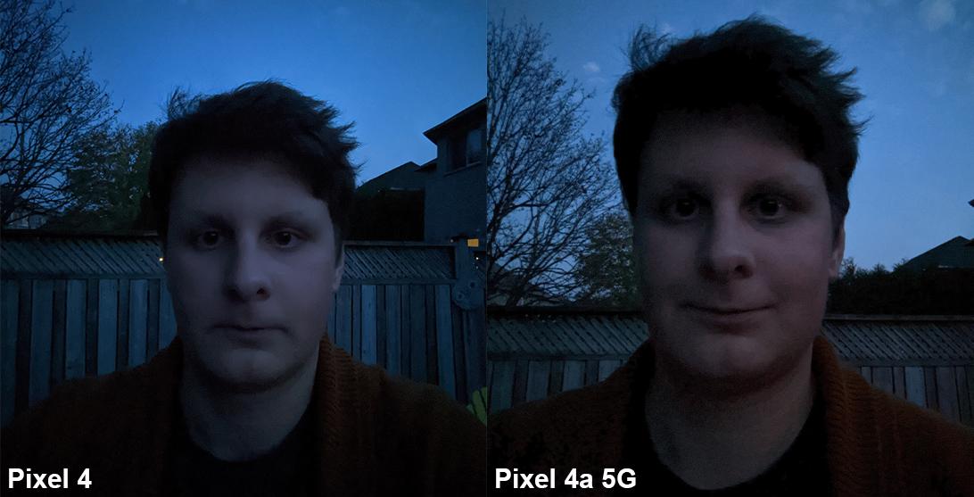 pixel 4a 5g night comparison selfie