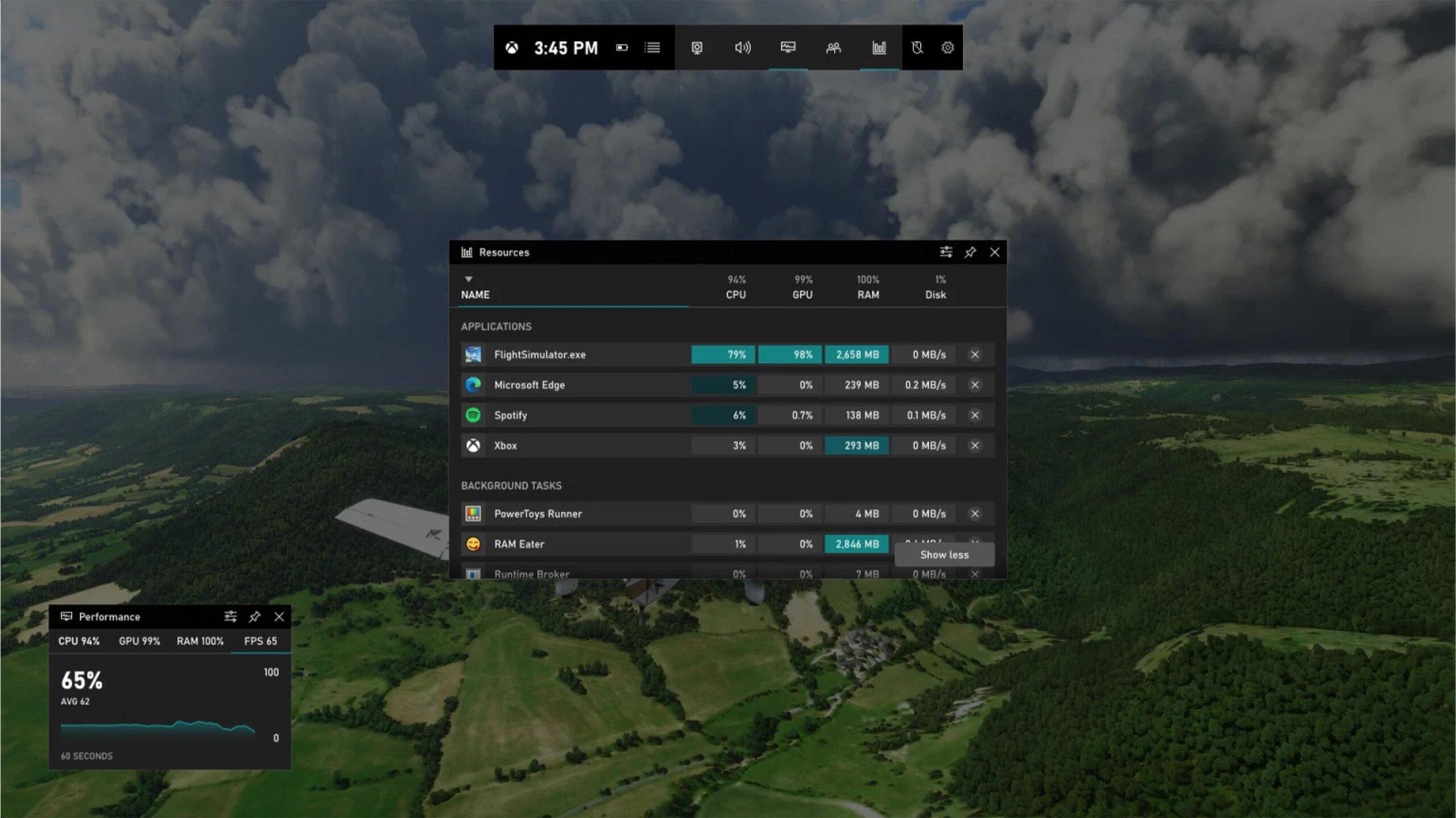 Resource widget on Xbox Game Bar