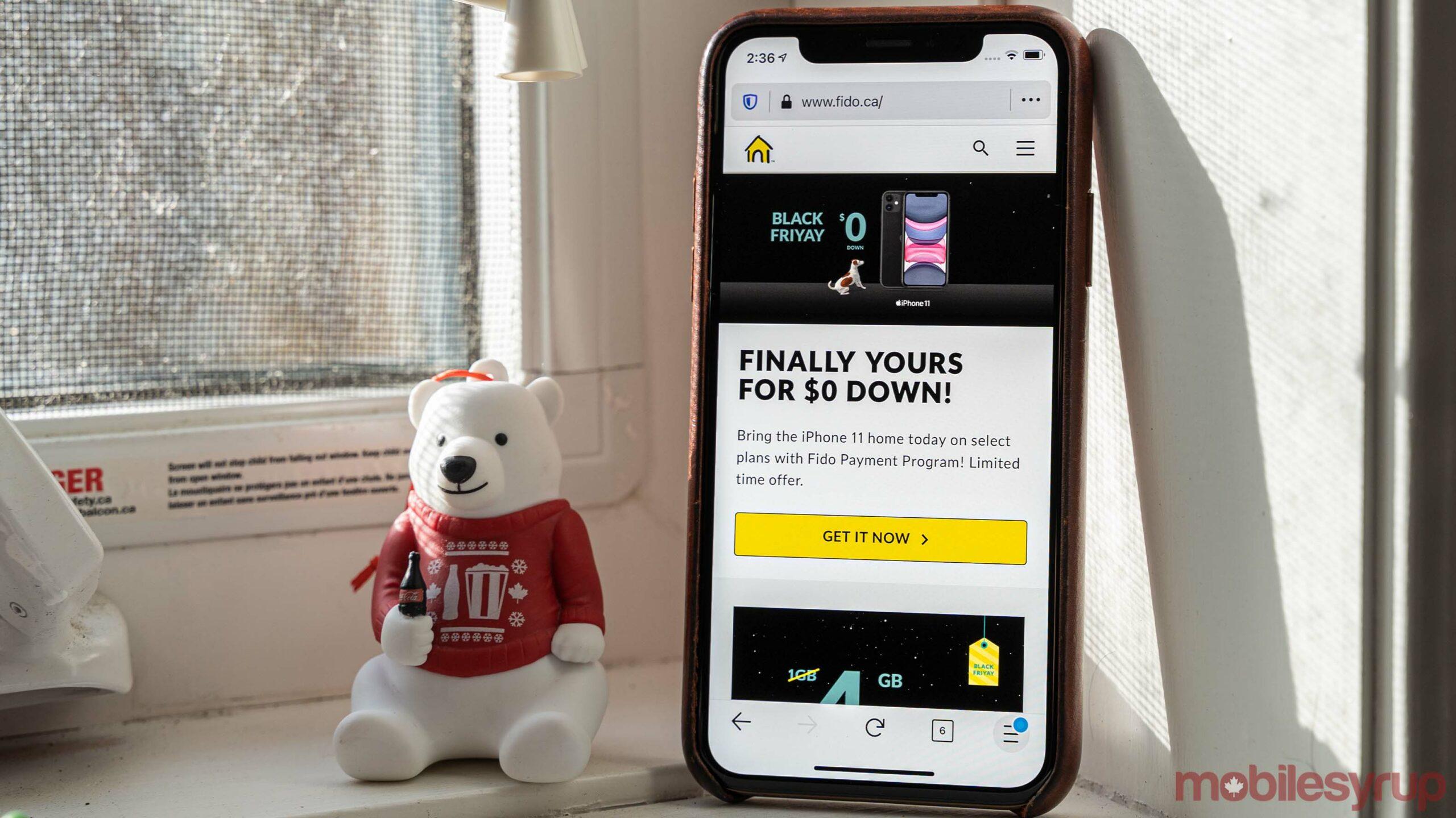 Fido website on iPhone