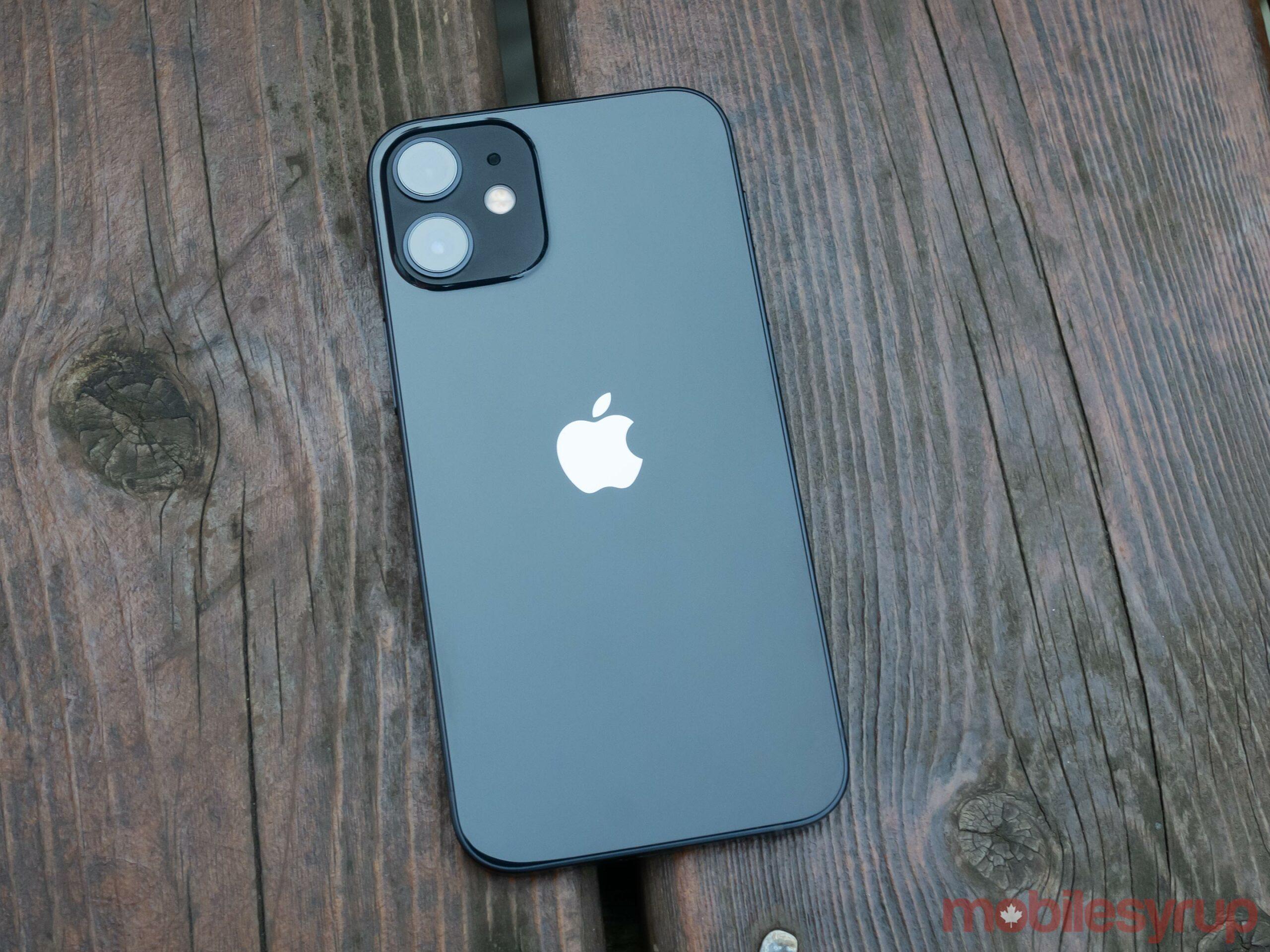Back of the Black iPhone 12 mini