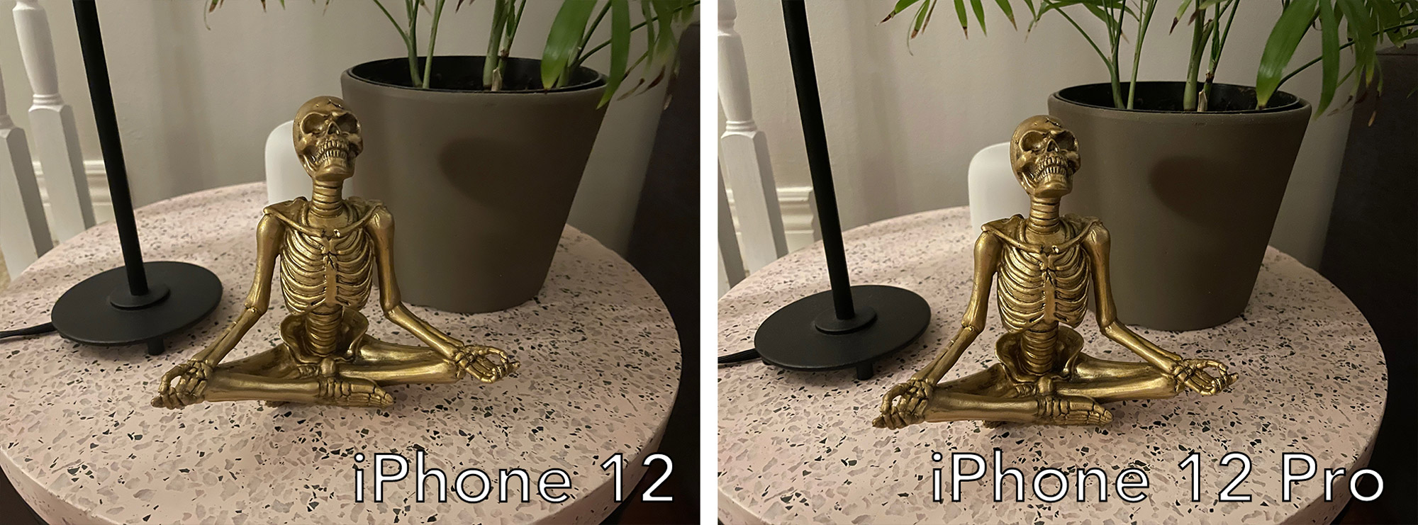 iPhone 12 low-light photo comparison.