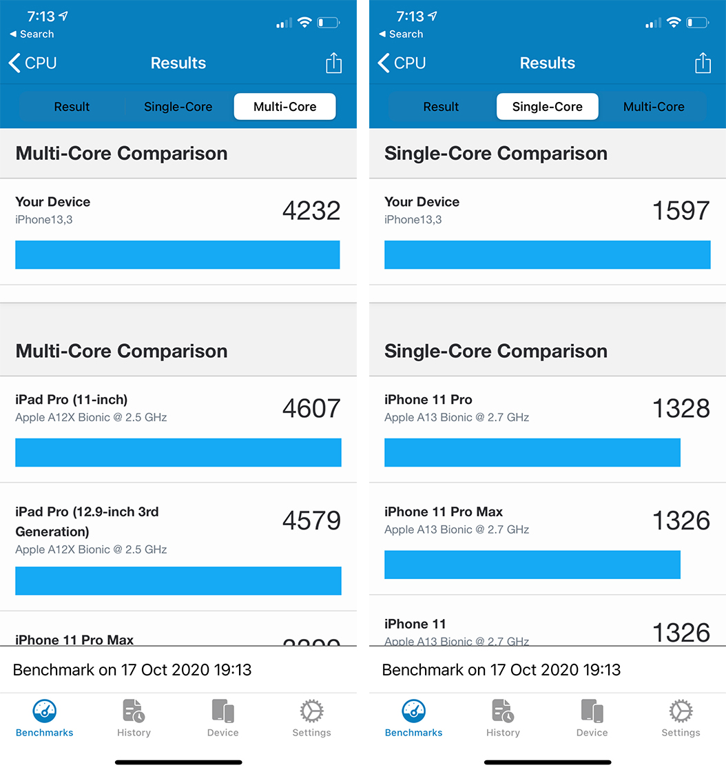 iPhone 12 Pro Geekbench benchmark