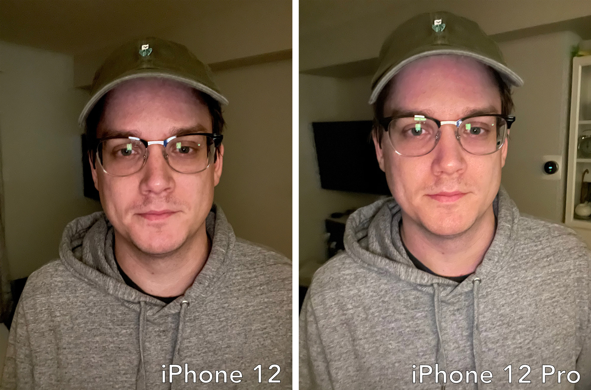 iPhone 12 selfie shooter comparison