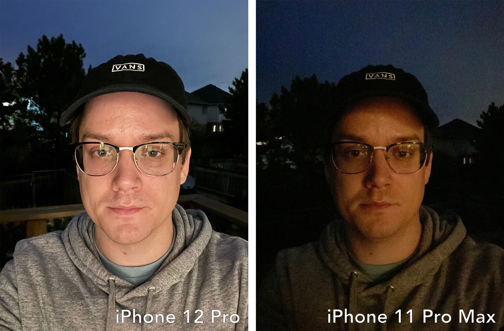 iPhon 12 vs iPhone 11 Pro Max selfie shooter