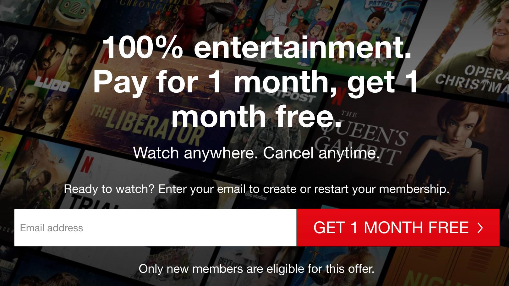 Netflix bogo deal