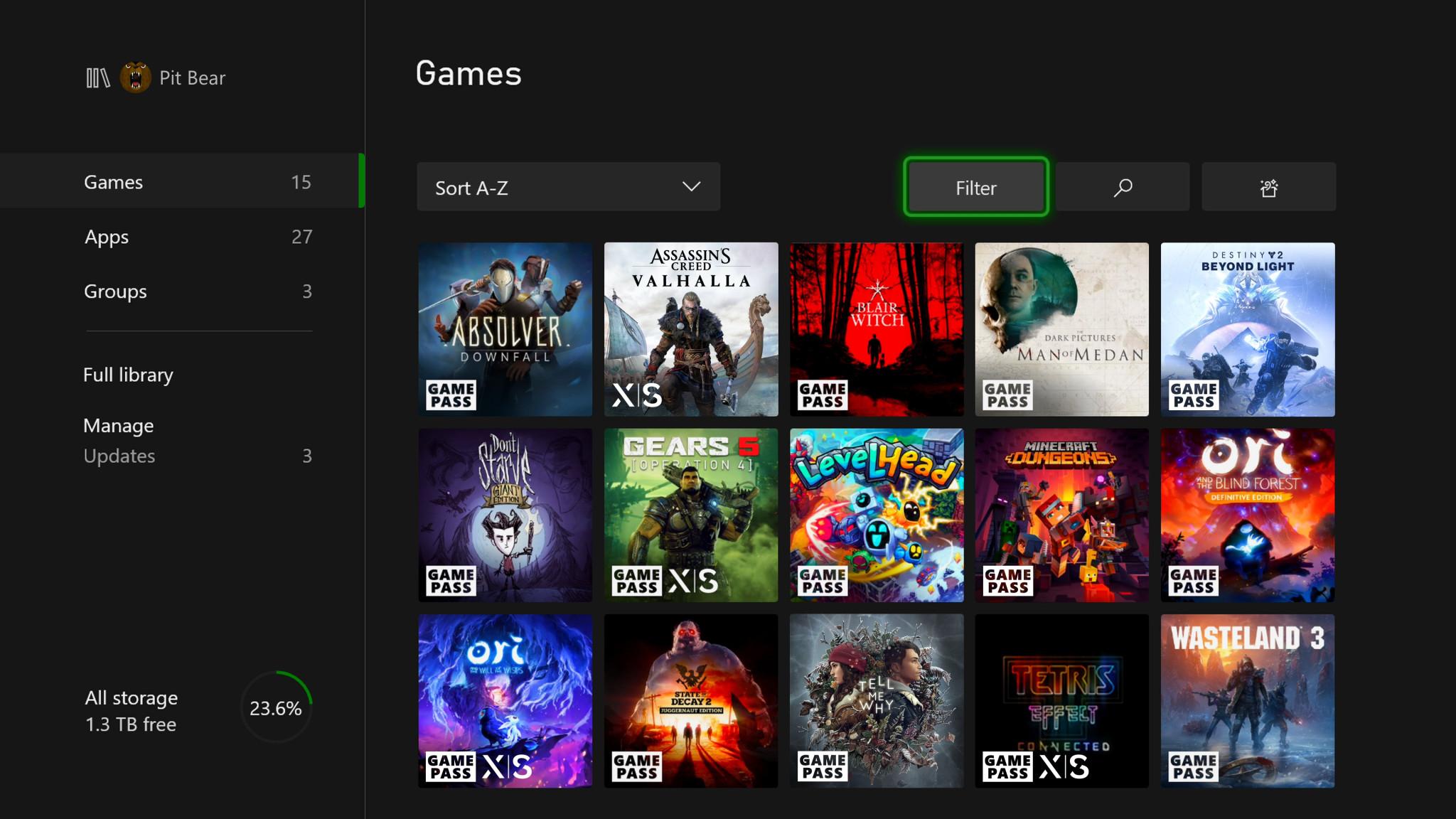 Xbox Series X game badge dashboard