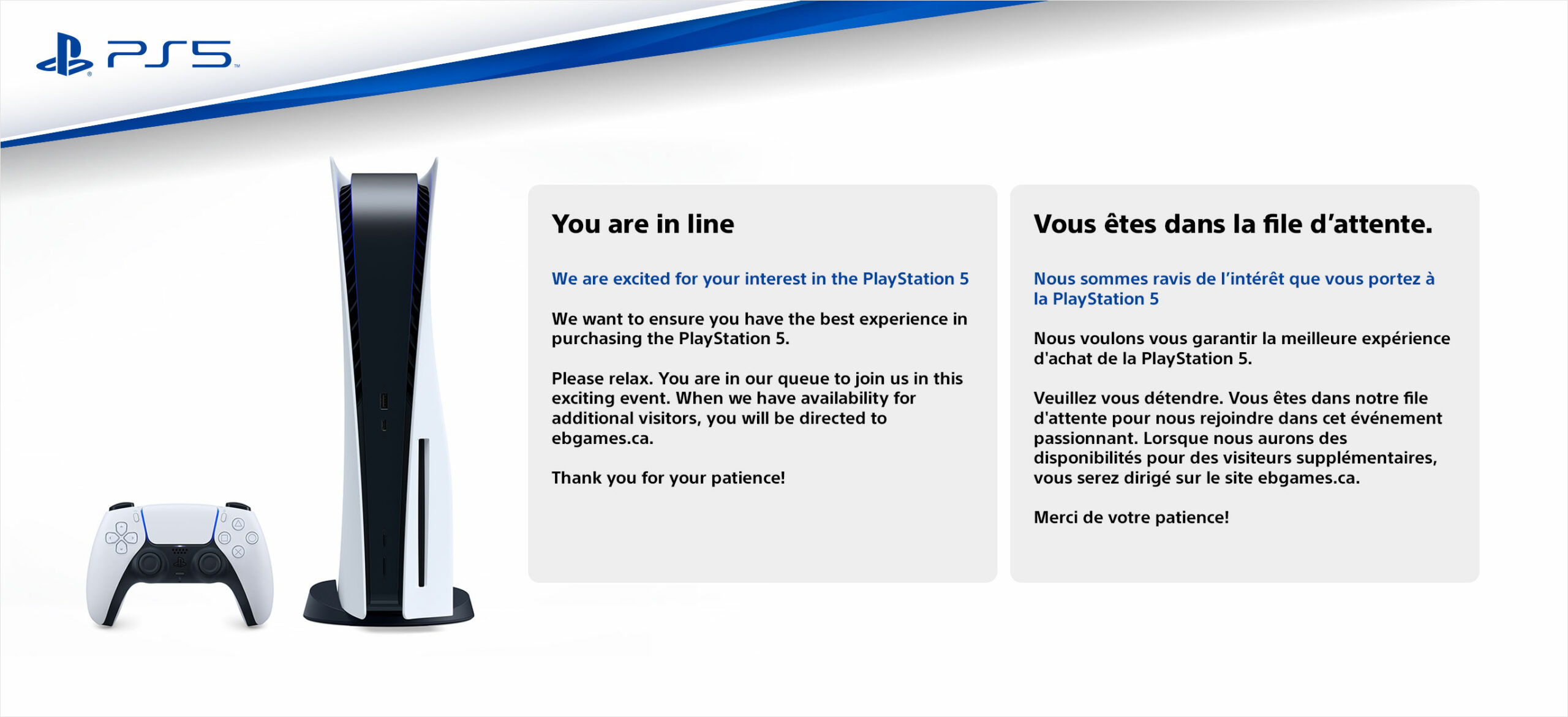 PlayStation 5 EB games waiting room