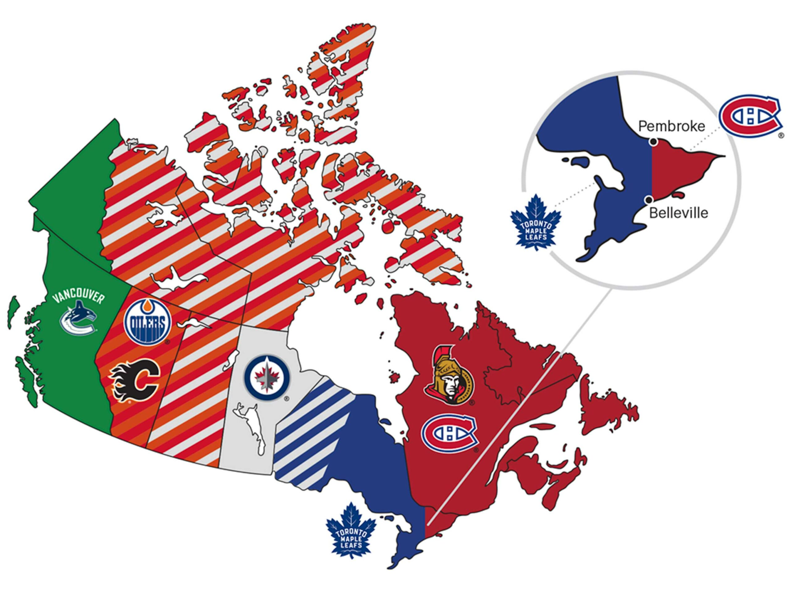 a map of the NHL team regions