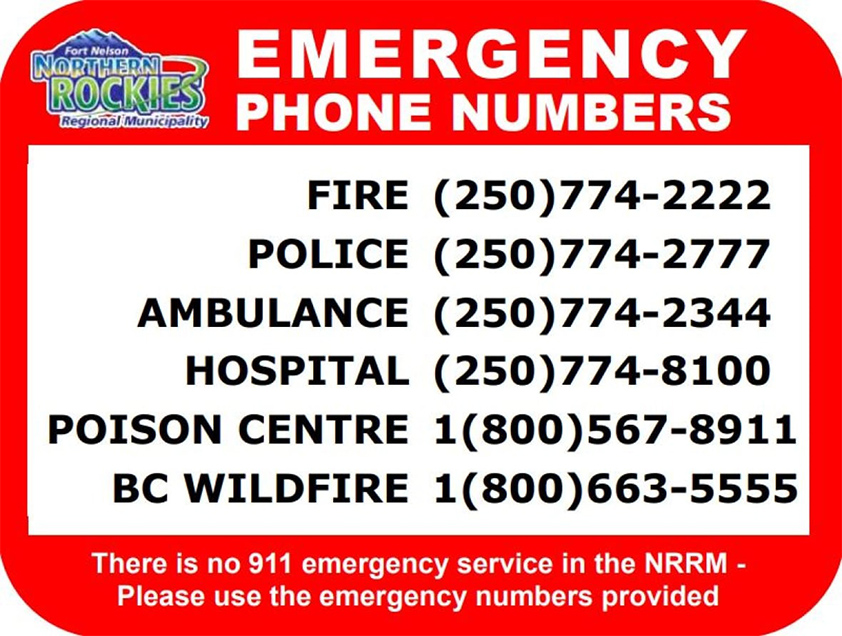 Fort Nelson emergency numbers