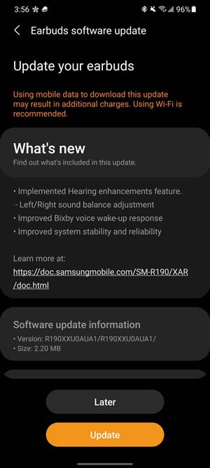 Galaxy Buds Pro update notification