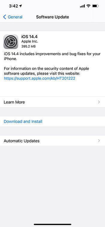iOS 14.4 update