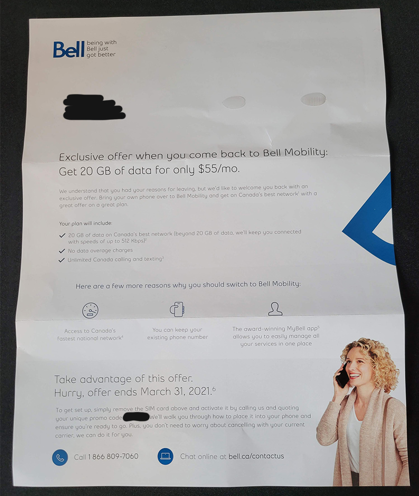 Bell sending letters to some former customers with $55/20GB plan