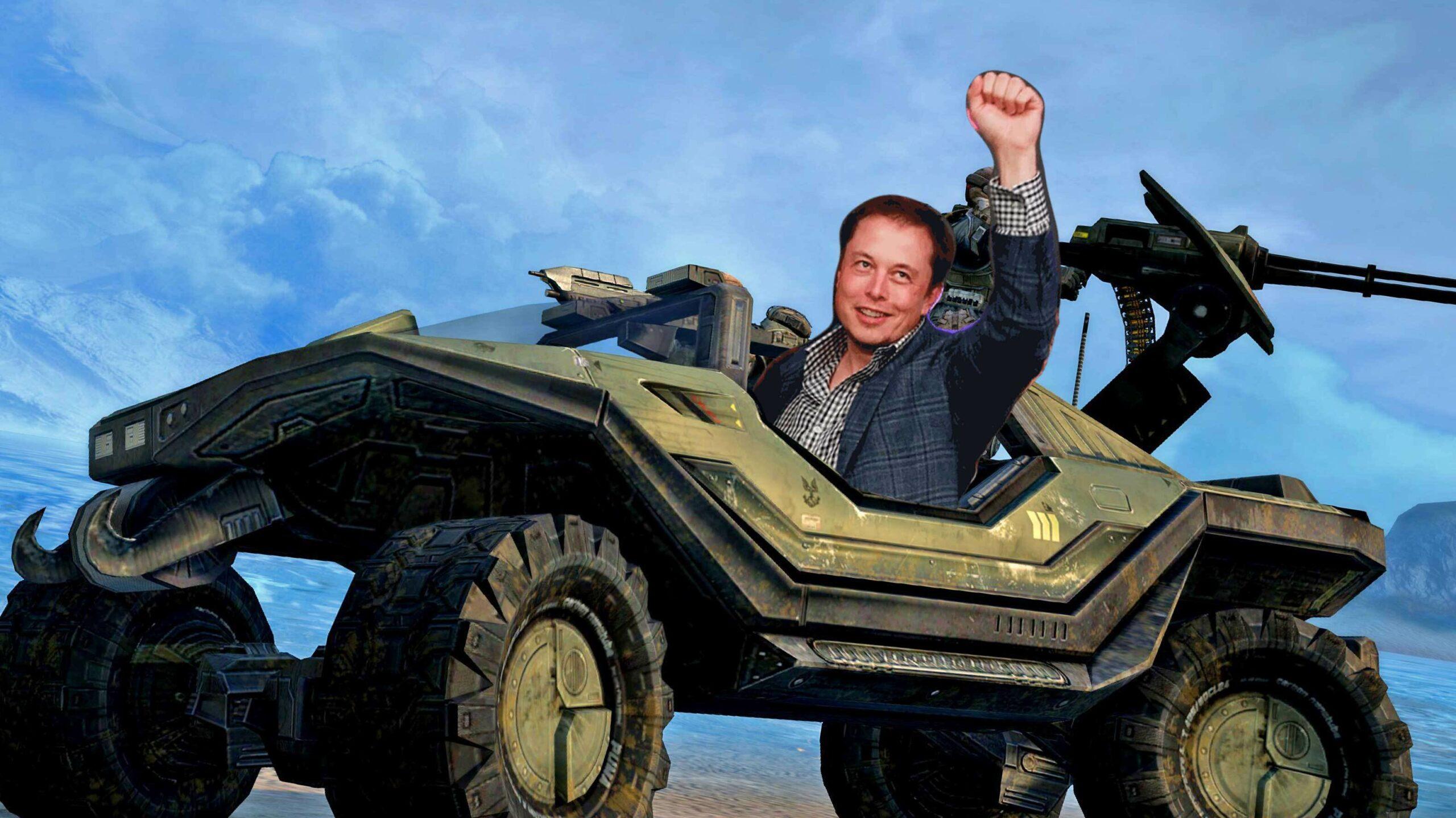 Elon Musk in a Warthog