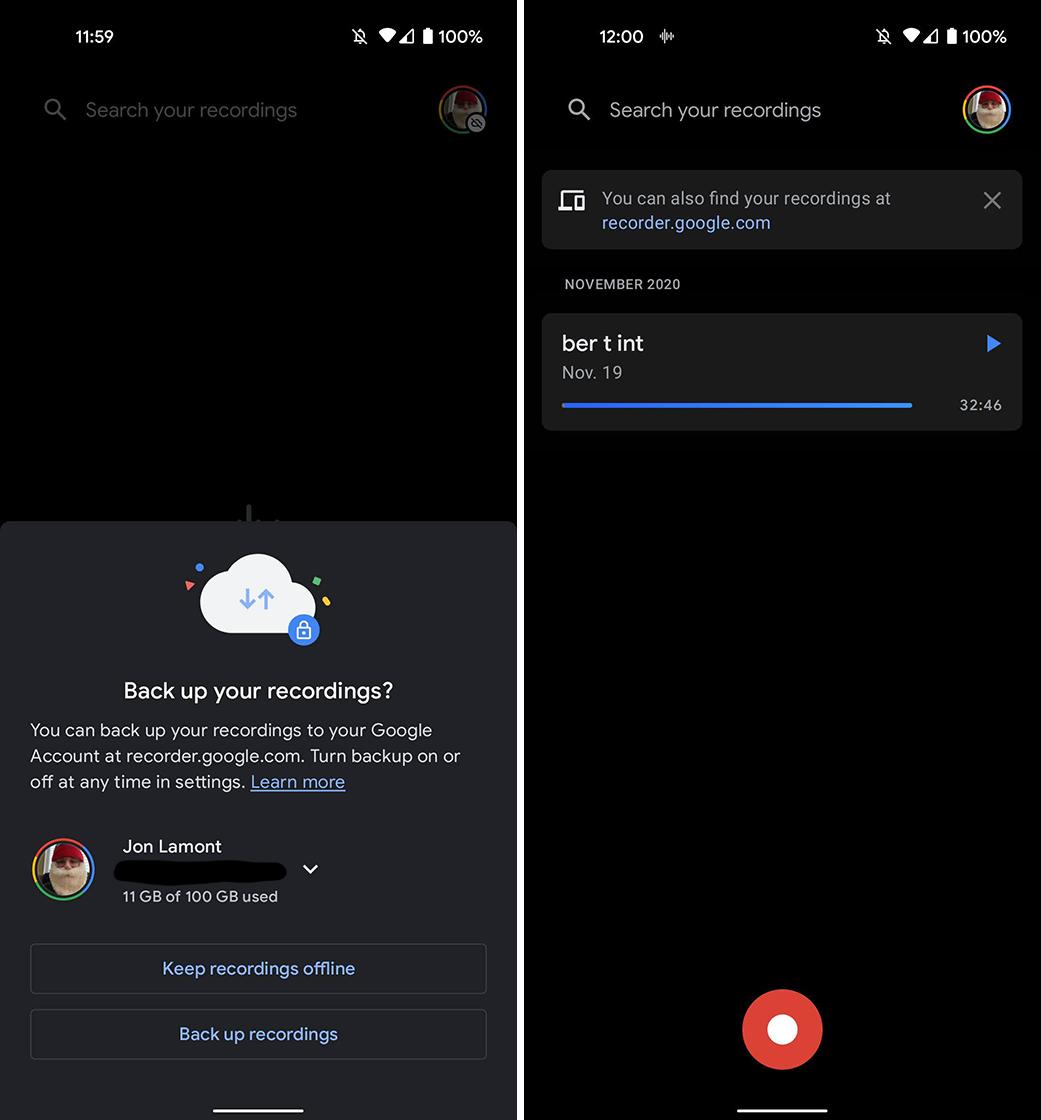 Cloud backup option in Google Recorder