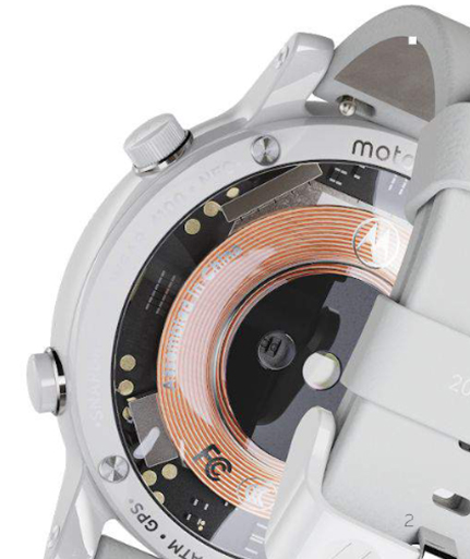 Image of Moto 360 with a clear back panel