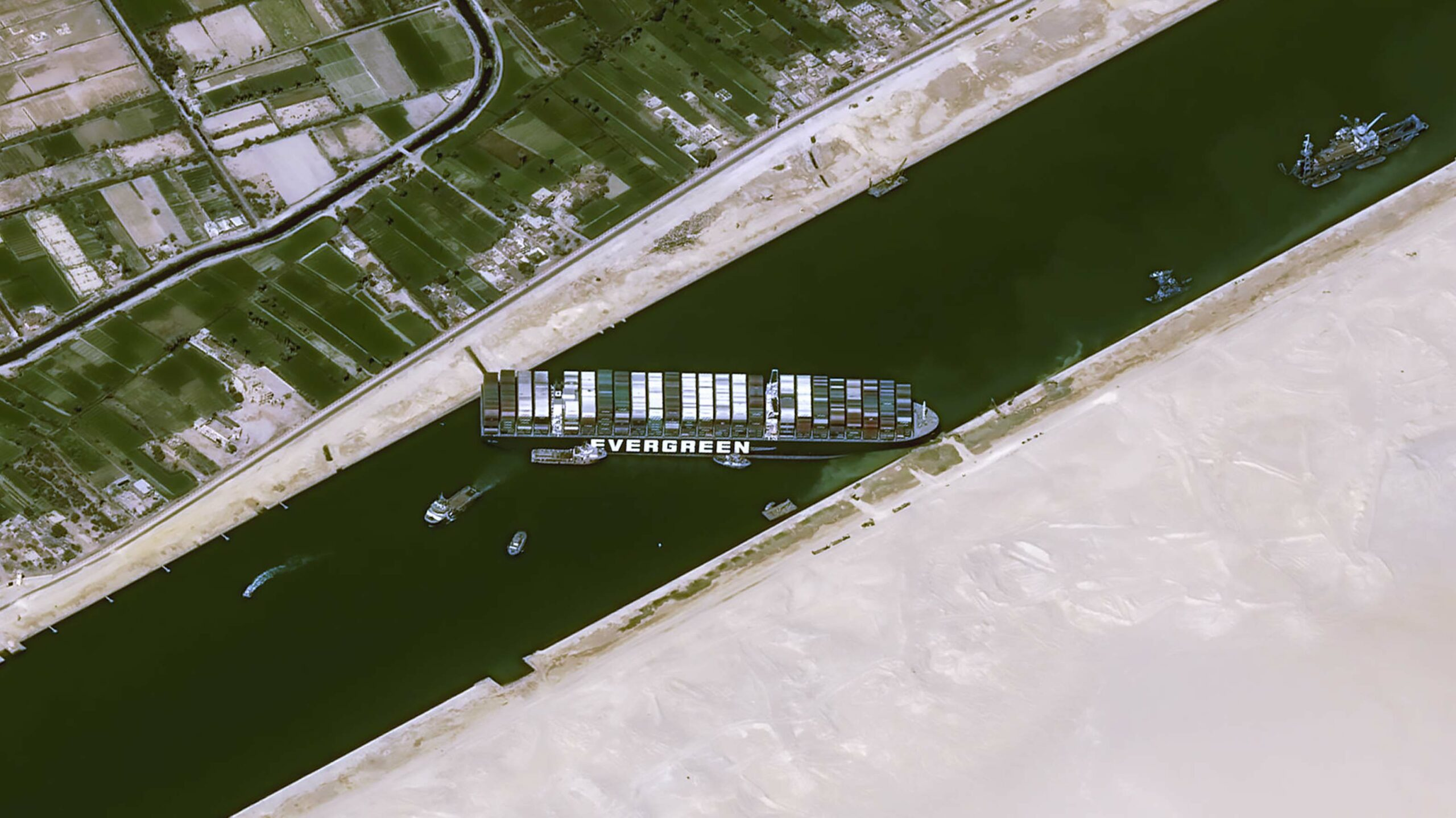 Satellite image of the Ever Given stuck in the Suez Canal
