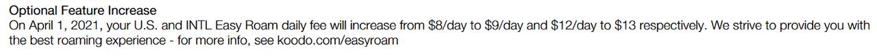 Koodo Easy Roam price increase notice