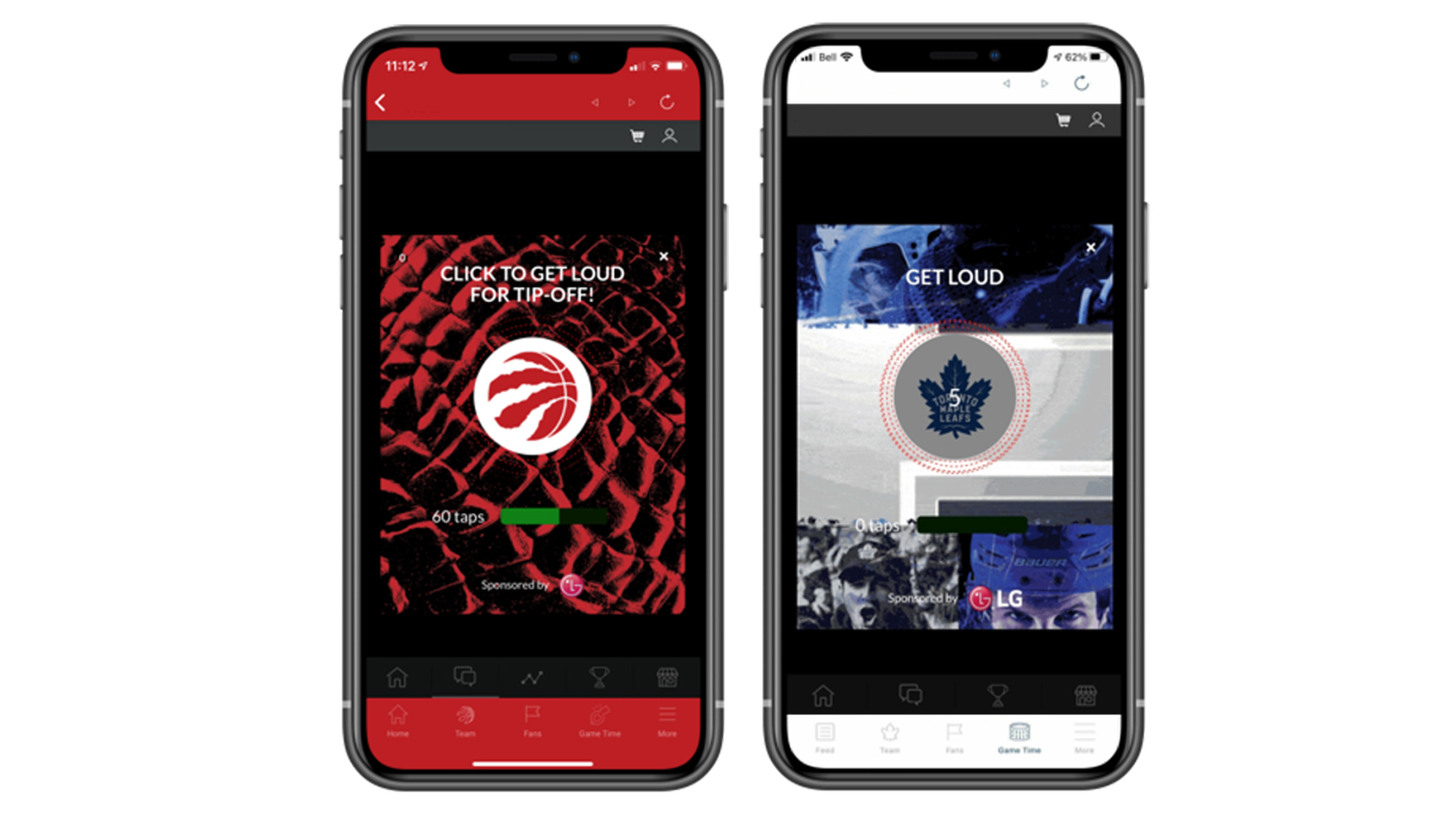 (LEFT) A view of the Toronto Raptors' mobile app. (RIGHT) A view of the Toronto Maple Leafs' mobile app.