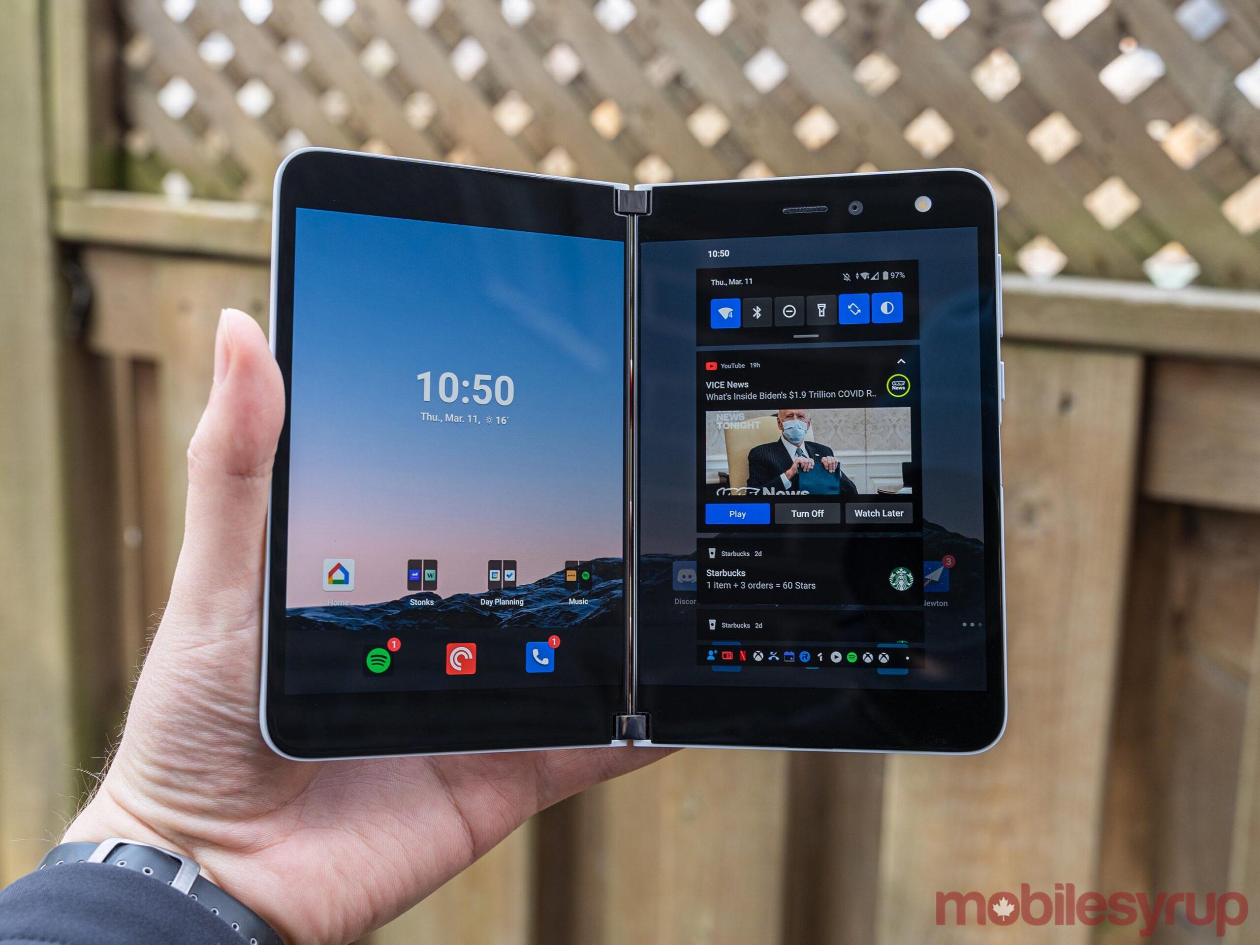 Surface Duo notification shade