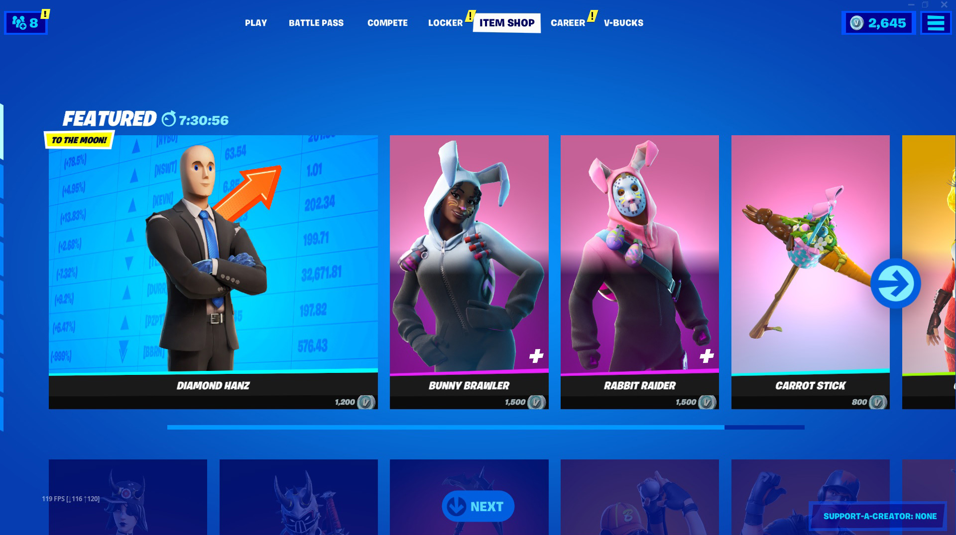 The stonk meme skin is available in the item shop