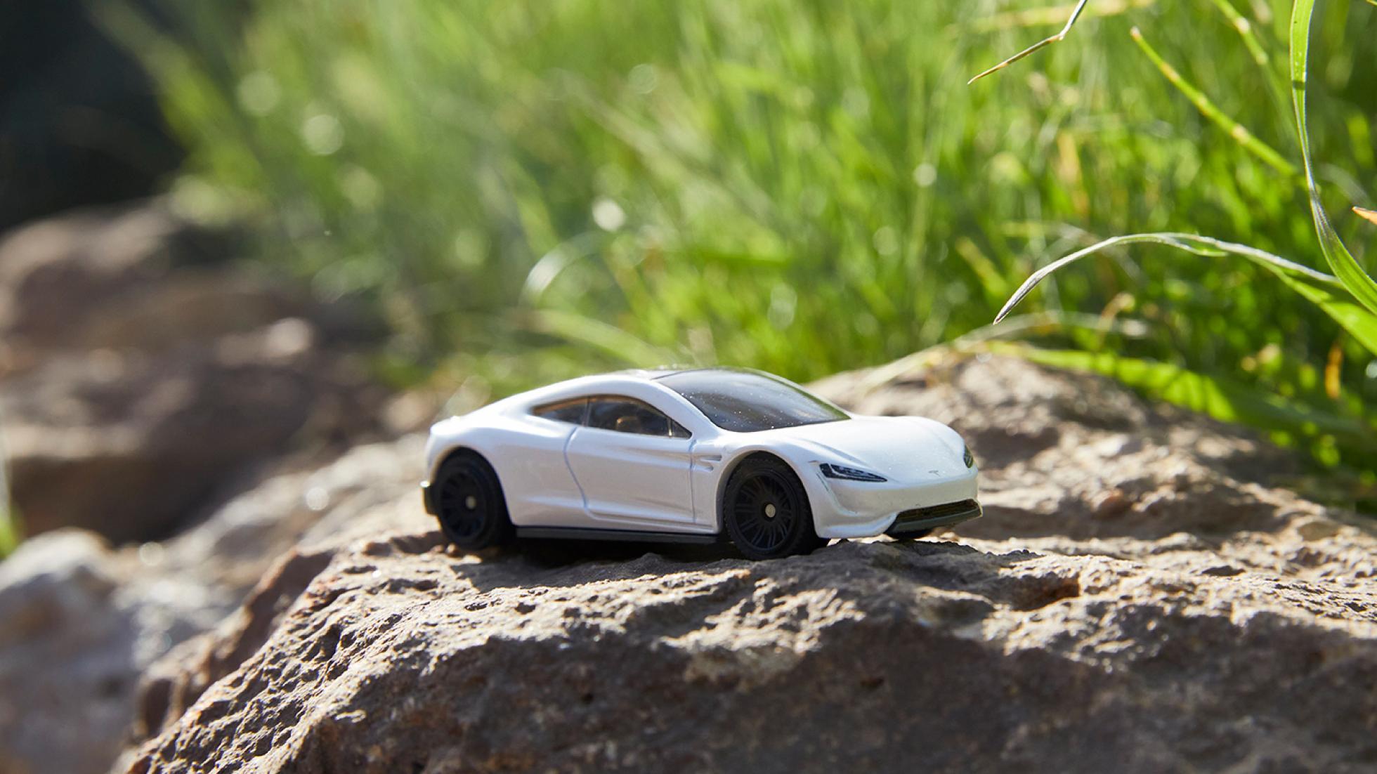 White Tesla matchbox toy car