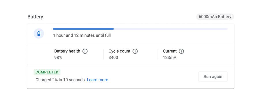 Chrome OS battery info in the Diagnostics app