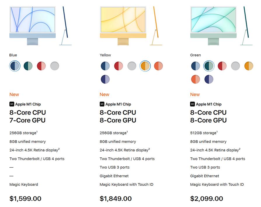 Apple M1 iMac configuration options