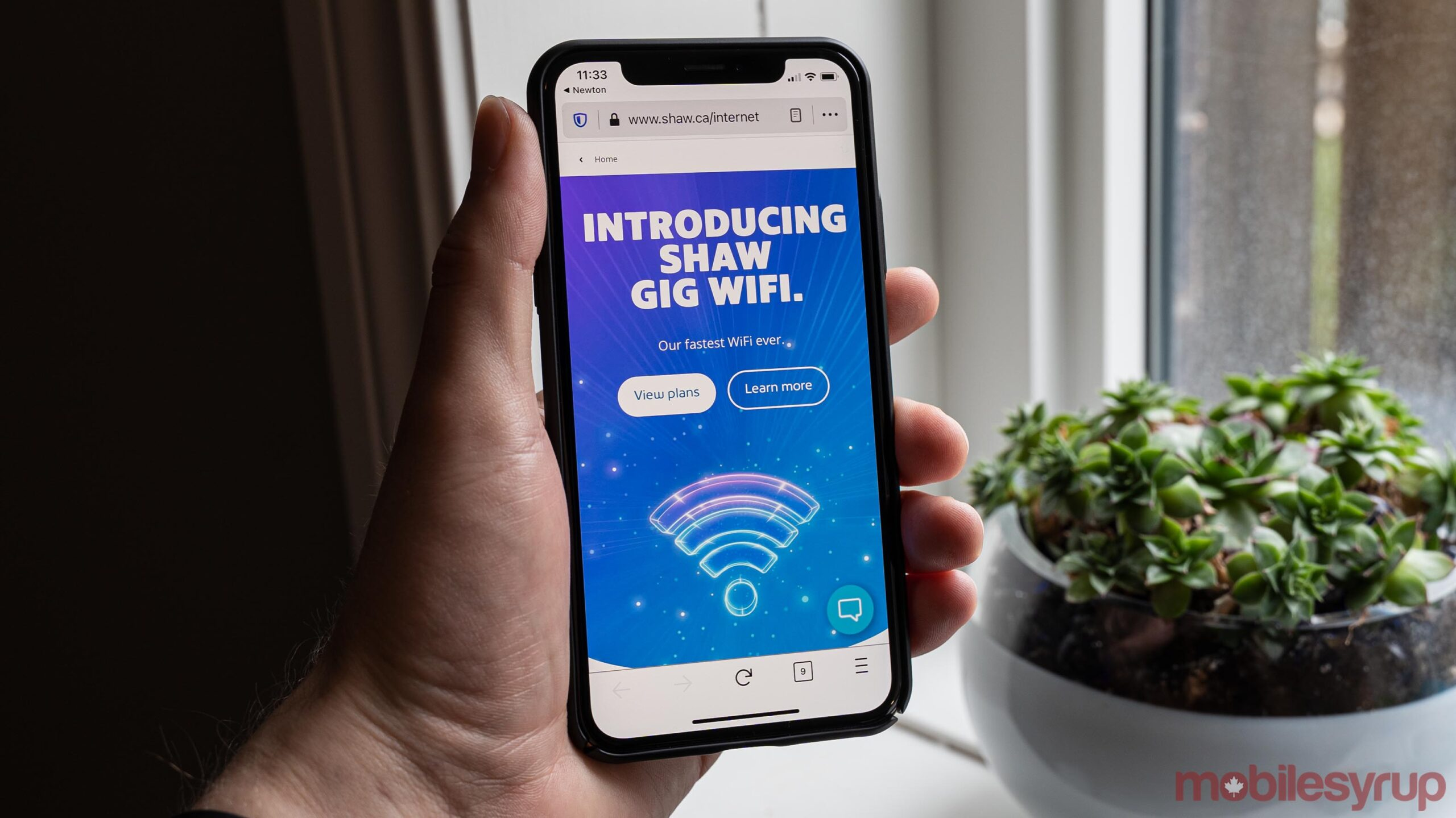 Shaw Gig Wifi website on mobile
