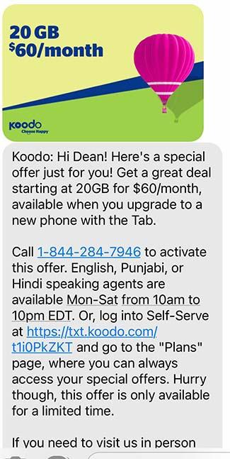 Koodo deal screenshot