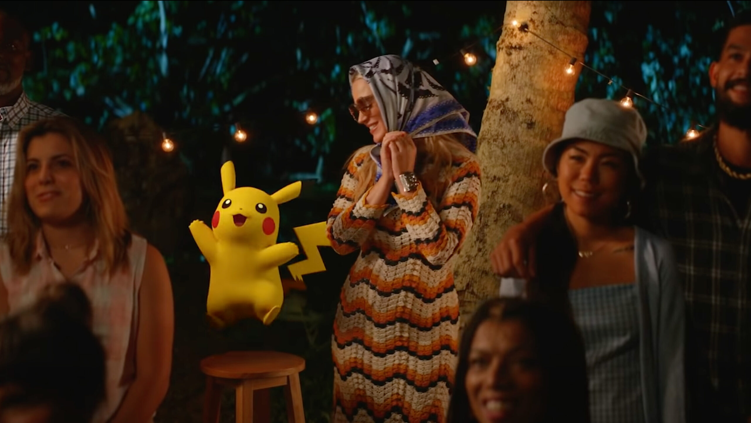 Pikachu with Katy Perry wearing a disguise