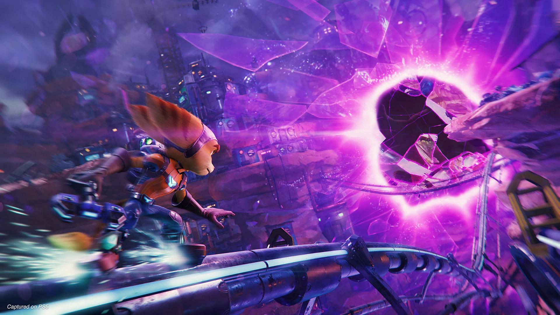 Ratchet and Clank ride a rail into a rift