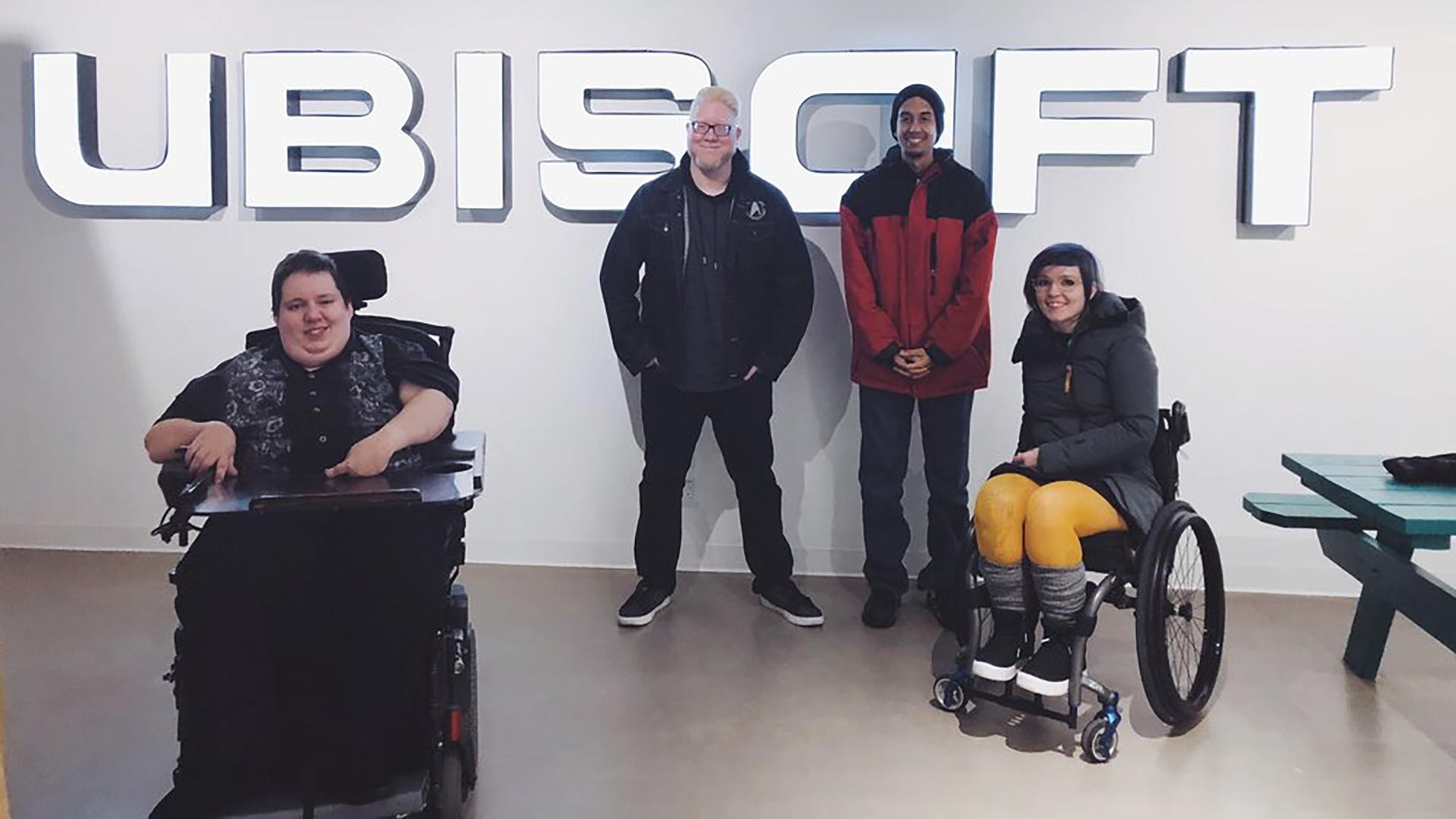 Steve Saylor and other accessibility consultants in a Ubisoft office