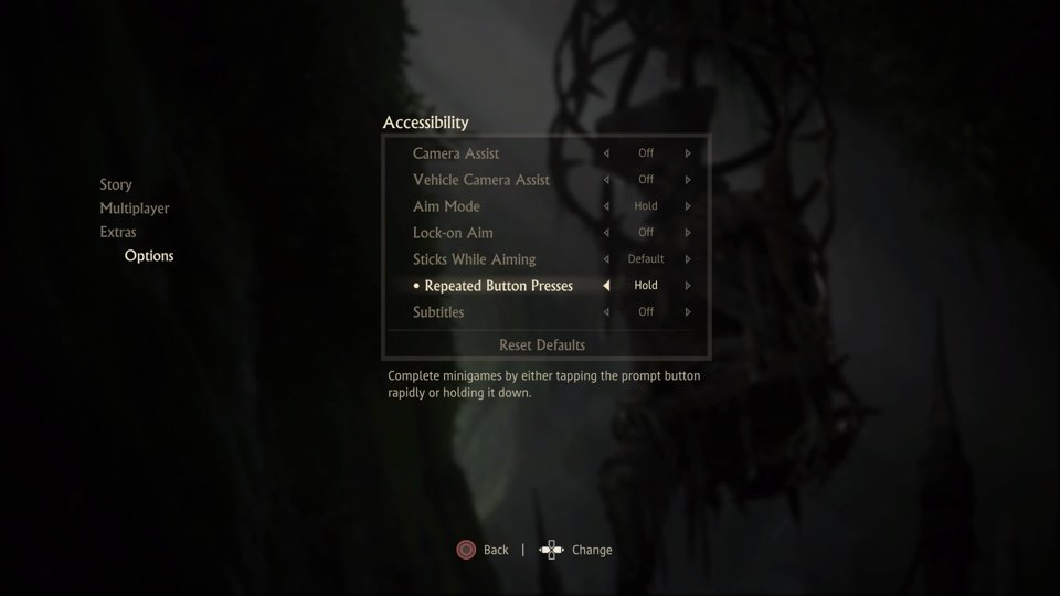 Uncharted 4 accessibility menu