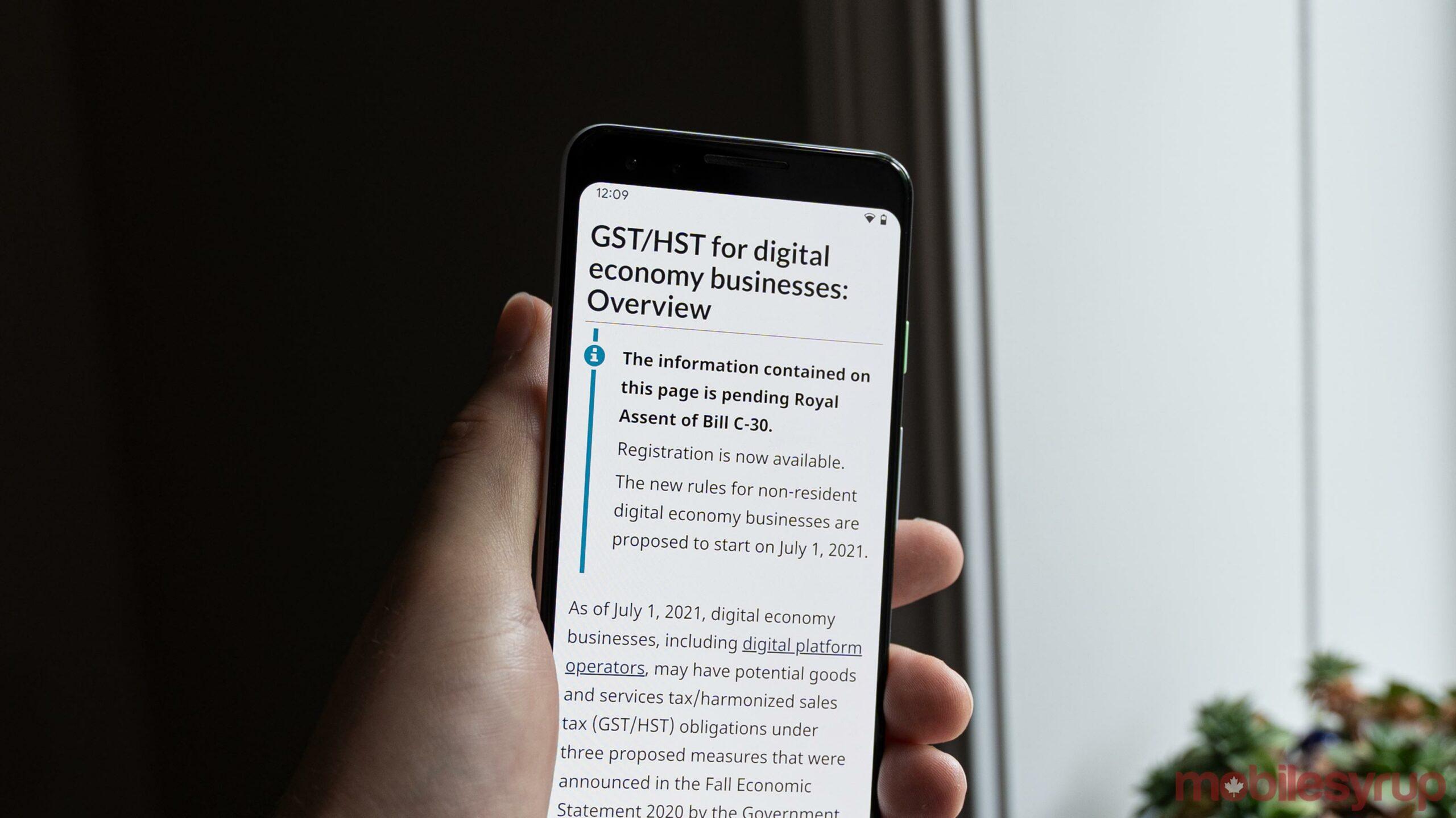 CRA website detailing Canada's digital tax