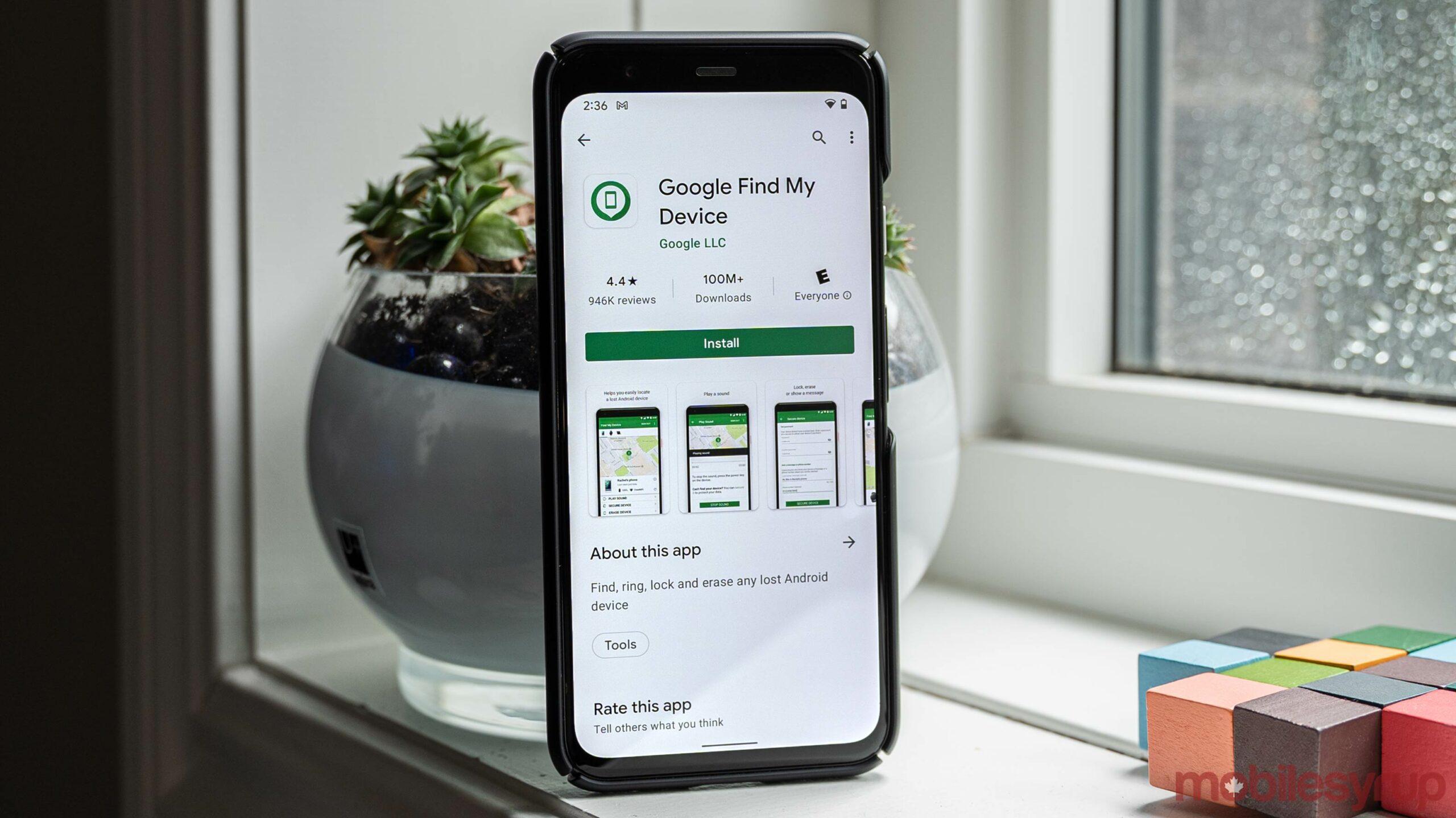 Google Find My Device app on Pixel 4
