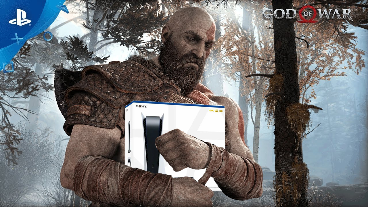 Kratos hugging a PS5