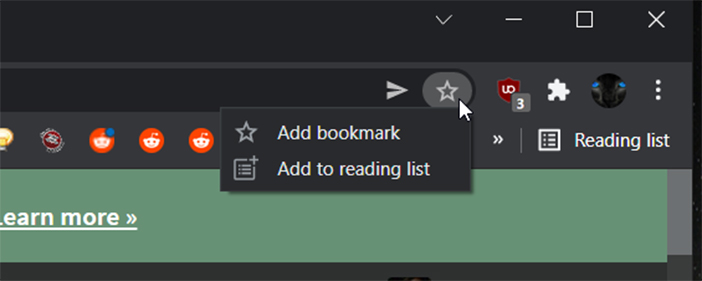 Chrome bookmark and reading list button