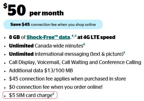 Koodo plan with $5 SIM charge