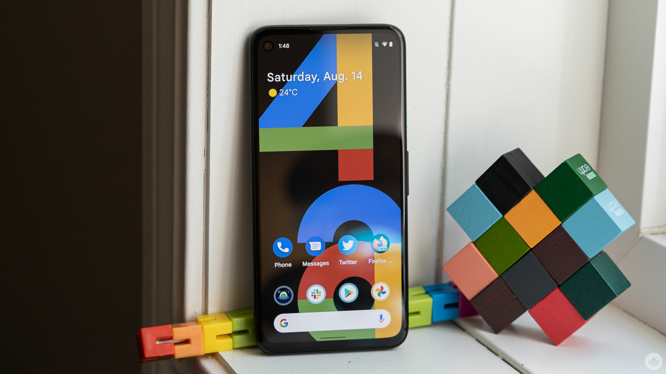 Pixel 4a with promo '4a' wallpaper
