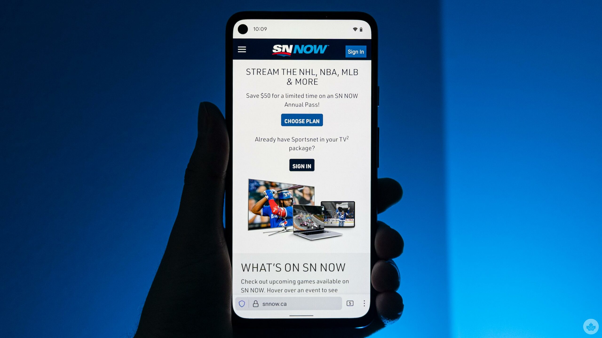 Sportsnew SN Now website on a smartphone
